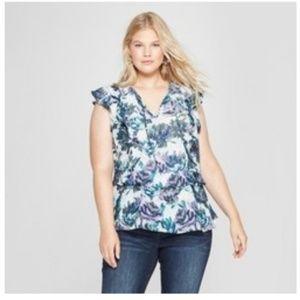 Ava & Viv Size 3X Purple/Blue Floral Print Blouse